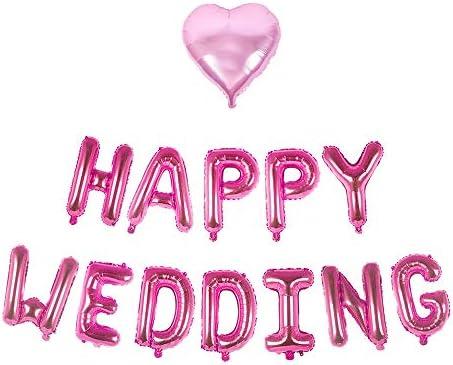 【Lopity】ハッピーウェディング バルーン HAPPY WEDDING 風船 結婚式 2次会 お祝い インスタ映え パーティー飾りに (ピンク)