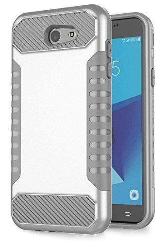Slim Fit Hybrid Case for Samsung J7 (Grey/Red) - 1