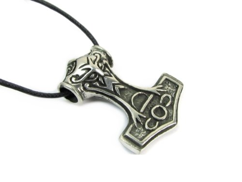 Pewter Pendant Cord Necklace - Creative Ventures Jewelry Thor's Hammer Pewter Pendant on Cord Necklace, The Norse Collection