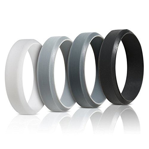 Saco Band Silicone Rings for Men - 7Pack & 4Pack Beveled Rubber Wedding Bands (Black, Dark Grey, Light Grey, White, 11.5-12 (21.3mm)) (Accents Grey Silicone)