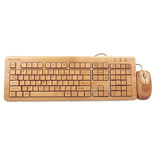 Sengu SG-KU308-N+MU1055-N 2.4GHz Full Bamboo Handmade Wired Multimedia Keyboard and Mouse Combo(3 Key Pads)