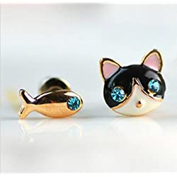 Cute Cat and Fish Stud Earring