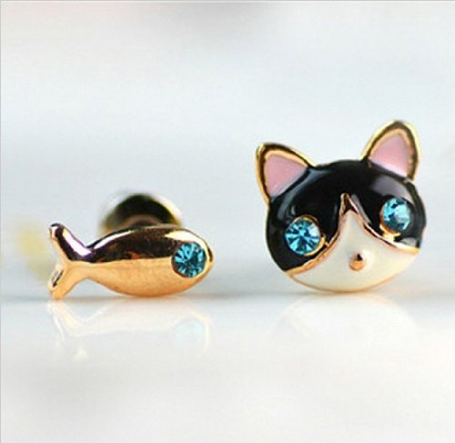 Cute Cat and Fish Stud Earring - Cute Cat Earrings