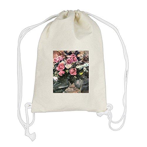 Roses #1 (Lovis Corinth) Cotton Canvas Backpack Drawstring Bag Sack Corinth Rose