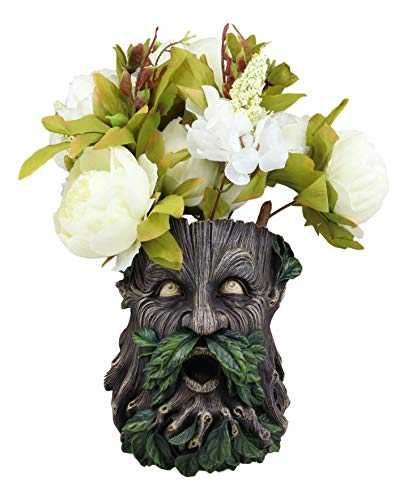 Ebros Gift Whispering Willows Evergreen Forest Greenman Wall Hanging Planter Sculpture Plaque for Succulents Herbs Flowers or Plants 8