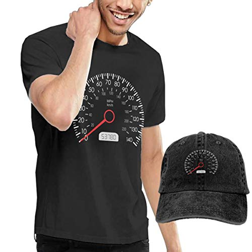 Men's Short Sleeves Car Speedometer T-Shirt + Cowboy Hats Combo Set