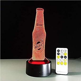 3D Luz Nocturna,Control Remoto Botella De Cerveza Control Remoto ...
