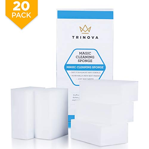 ((20 Pack) Magic Cleaning Eraser Sponge - Best for Hard Surfaces in Kitchen, Bathroom, Home, Walls and More. Extreme Value, Clean with Non-Toxic Melamine. TriNova)