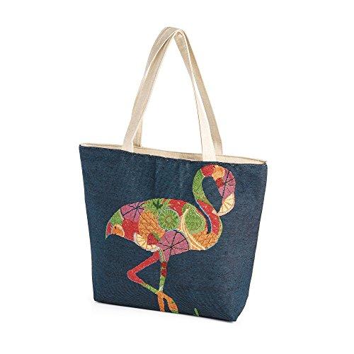 Design Shoulder Shopper Flamingo Beach Canvas Bag Tote Blue Lightweight Bag t4RwFnq
