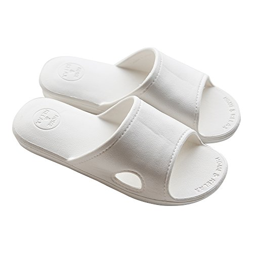 mianshe Bathroom Shower Slippers Sunmmer Slip On Sandals Soft Foams Sole Pool Shoes (White Bath Slippers)