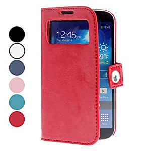 get PU Leather Case with Window and Round Bur for Samsung Galaxy S4 I9500 (Assorted Colors) , Pink