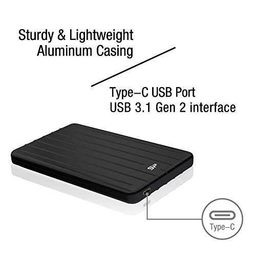 Silicon Power 512GB 3D NAND TLC Rugged Portable External SSD USB 3.1 Gen 2 (USB3.2) with USB-C to USB-C/USB-A Cables, Ideal for PC, Mac, Xbox and PS4, Bolt B75 Pro