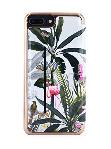 Ted Baker PLEE Mirror Folio Case with Outer Card Slot for iPhone 8 Plus / 7 Plus / 6 Plus, Protective Wallet iPhone 8 Plus / 7 Plus / 6 Plus Cover for Professional Women - Pistachio Grey