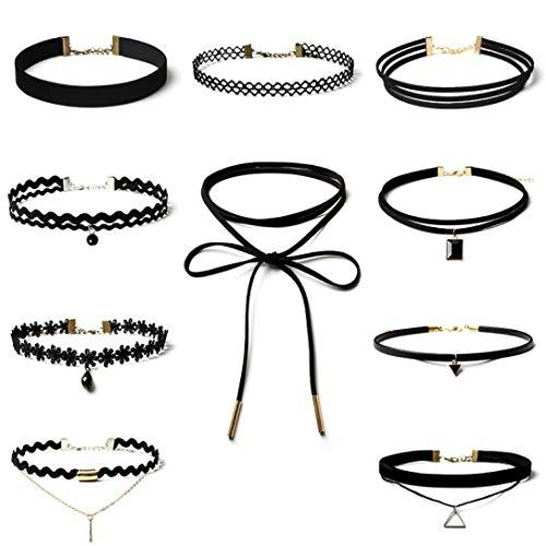 Gotd Choker Necklace Set Stretch Velvet Classic Gothic Tattoo Lace Choker (Pack of 10, Black)