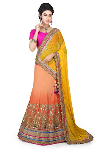 Gota Patti Chinon Crepe Lehenga in Peach Ombre