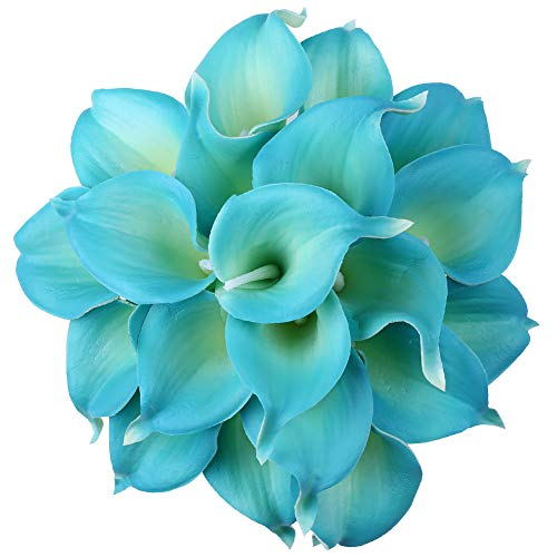 Leagel Calla Lily Bridal Wedding Bouquet Head Lataex Real Touch Flower Bouquets (20, Blue)