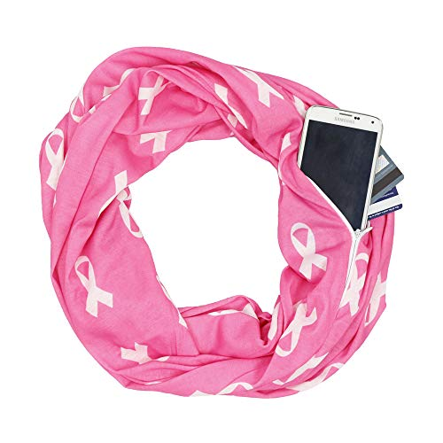 Breast Cancer Awareness White Scarf w/Pink Ribbon and Zipper Pocket - Pop Fashion (Pink)