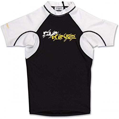 Dakine Kid's Heavy Duty Snug Fit Short Sleeve Rashguard T-Shirt, Black, 12 by Dakine