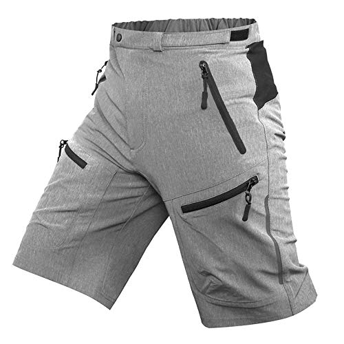 Cycorld Mens Mountain Bike Biking Shorts, Bicycle MTB Shorts, Loose Fit Cycling Baggy Lightweight Pants with Zip Pockets(Grey, XL)