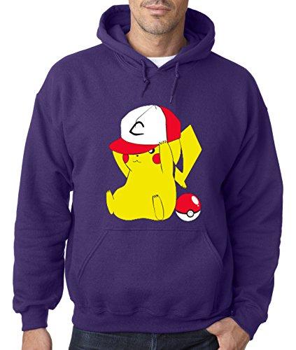 New Way 522 - Hoodie Pikachu Trainer Hat Pokeball Pokemon GO Unisex Pullover Sweatshirt Large Purple