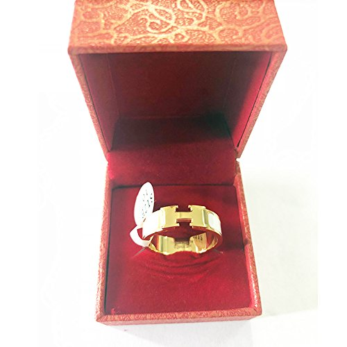 Love Ring - Titanium Fashion Classic Color Blocking H Ring (size: 5-10) (Gold/White, 8) by Qindishijia (Image #4)