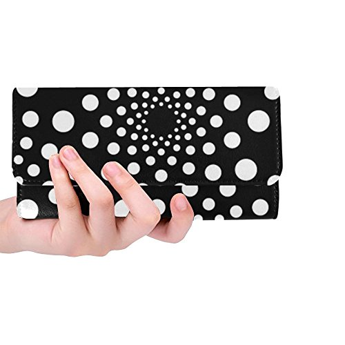 Unique Custom Dot Dots Round Black And White Dotted Design Women Trifold Wallet Long Purse Credit Card Holder Case Handbag