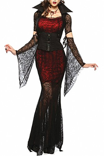 Women Vixen Vampire Theme Party Fancy Halloween Costume Corset Black Skeleton Dress (Corset Halloween Costume Ideas)