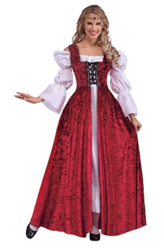 Medieval Witch Costumes (Forum Novelties Women's Medieval Lace-Up Costume Gown, Red, Standard)