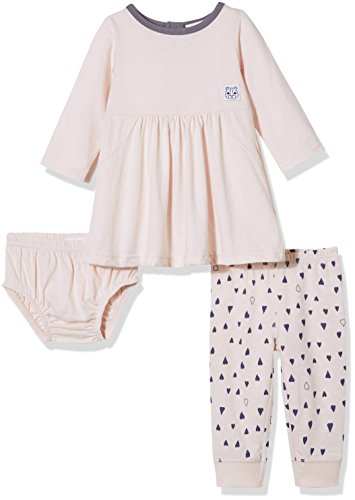 Preemie 2 Piece Outfit - Silly Apples Baby Girls Cotton Blend 2-Piece Long Sleeve Dress, Pant and Diaper Cover Outfit Set (6M)