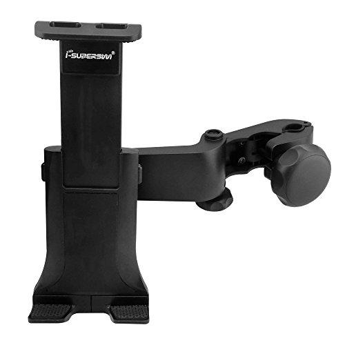 i-SUPERSIM Adjustable Universal Car Headrest Mount Holder with 360 Degrees Rotation for Cell Phones, Smart phones, IPDA, GPS, Black