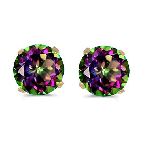 5mm Round Mystic Topaz Stud Earrings Set in 14k Yellow -