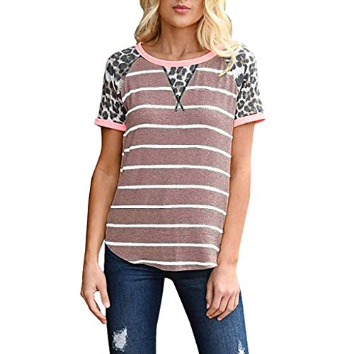 Tantisy ♣↭♣ Women's Casual Short Sleeve Round Neck Top Striped and Leopard Stitching T-Shirt Tunics Blouse Summer T-Shirt Pink