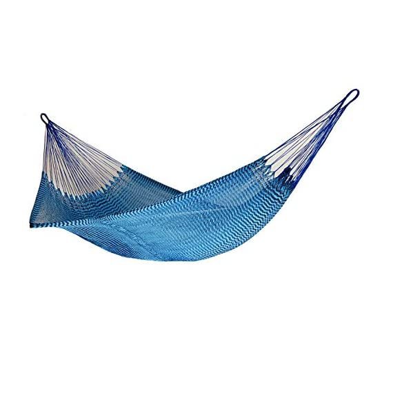 Ingalex New Rope Nylon Handmade Hammock Weather-Resistant Made in Venezuela Soft to The Touch Multicolored (Blue and Black) - hammock handmade in Venezuela color: Yellow, Length: 11.10 ft Aprox. X Width:7 ft. Weight Capacity: 300 lbs. Hammock is Weather Resistant and washable in washing machine - patio-furniture, patio, hammocks - 41brbLFI%2B3L. SS570  -