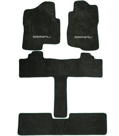 GMC Yukon Denali 2ND Row Captain Seats Prairie Tan Carpet Floor Mats with Denali Logo-(2007 2008 2009 2010 07 08 09 10)