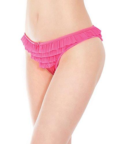 Coquette 174 Women's Ruffle Mesh Panty - One Size - Neon Pink