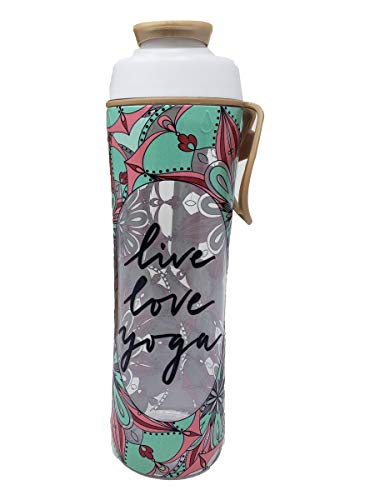 50 Strong BPA Free Gym Yoga Water Bottle with Ice Guard Flip Top Cap & Carry Loop - Cute Designer Prints - Perfect for Men, Women, Sports & Workout - Made in USA (Yoga Love, 24 oz.)