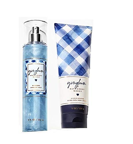 (Bath and Body Works - Gingham - Diamond Shimmer Mist and Ultra Shea Body Cream - 2019 - Gift set)