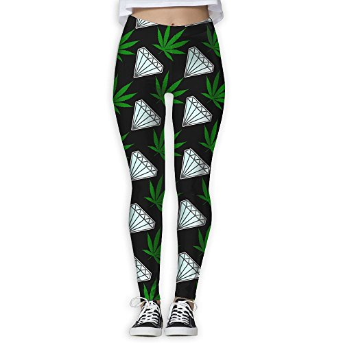 LEDF PANTS Weed Cannabis Leaf Diamond Women's Prolific Health Fitness Power Flex Yoga Pants Leggings