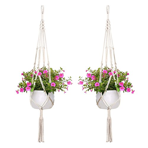 Pack of 2, Macrame Plant Hanger, Indoor Outdoor, Plant Holder, Hanging Planter Wall Art, Cotton Rope 4 Legs 41 inch Garden Home Decoration (41 inc)
