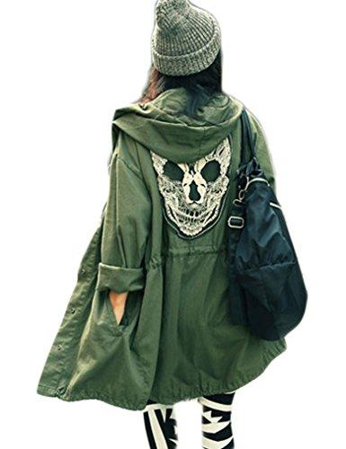 Women Punk Skull Head Hooded Coat Rain Trench Outerwear Jacket