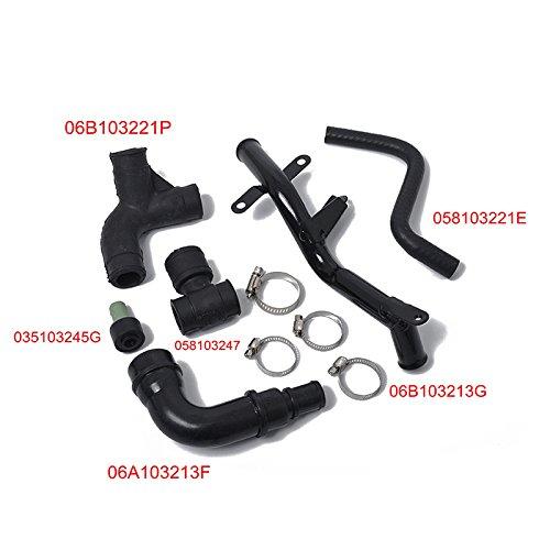 elegantstunning 6 pcs/Set Professional OE 06b103213g Reniflard kit de tuyaux Tuyau de Ventilation pour Audi Volkswagen, Noir A0866
