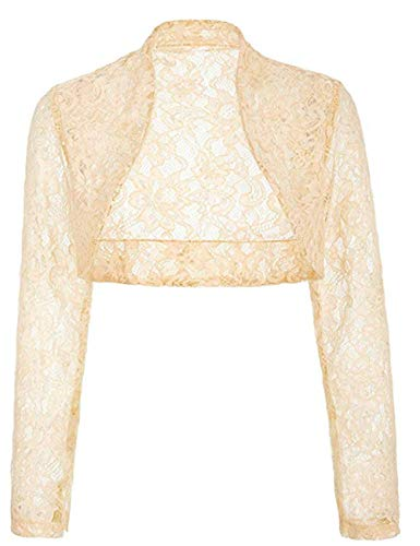 - Women Long Sleeve Cropped Lace Open Sweater Jacket for Evening Dress(Apricot,M)