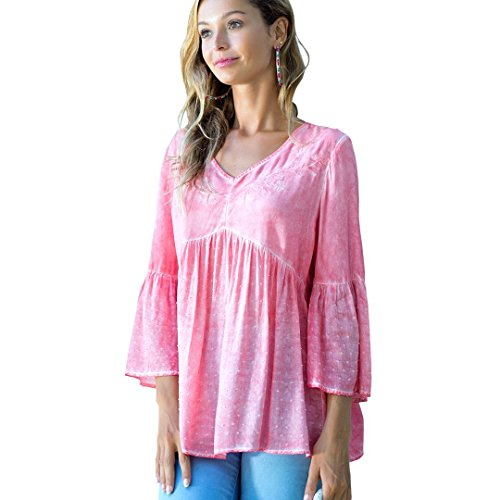Woven Embroidered Blouse - OneWorld Bell Sleeve V Neck Embroidered Woven Blouse Tunic Top for Women and Ladies Pink