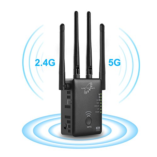 VICTONY WiFi Range Extender 1200Mbps WiFi Signal Booster with Hign Performace External Antennas WiFi Extender for 2.4G and 5G Frequency (BK)
