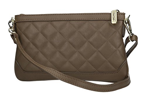 Borsa donna a tracolla mini PIERRE CARDIN taupe pelle Made in Italy VN571
