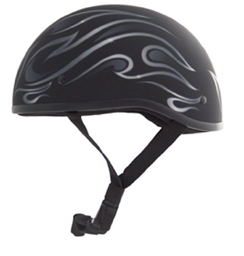 Zox Nano Old School Flame Graphic Open Face Motorcycle Helmet (Matte Black, XX-Small)