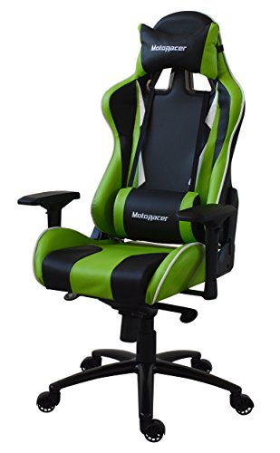 MotoRacer Gaming Chair Player Edition | Multi-Function Mechanism | Adjustable Height, Seat & Back | Ergonomic Racing Style Chair For Video Games with Maximum Comfort | 4D Armrests | (Green)