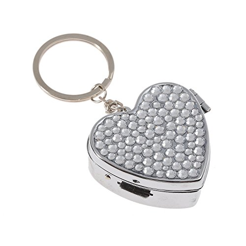 Luxury Handmade Portable Heart Shape Multi-Size Clear Bling Crystal Pill Box Cute Travel Rhinestone Pill (Jeweled Shopper)