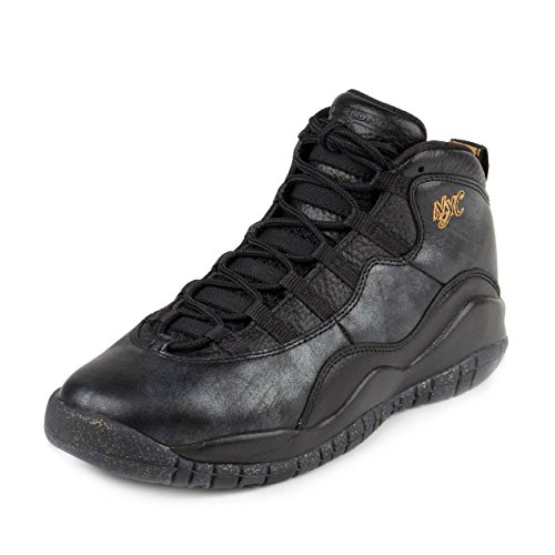 Jordan Nike Kids Air 10 Retro Bg Black/Black/Drk Grey/Mtllc Gld Basketball Shoe 5.5 Kids ()