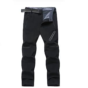 Ynport Crefreak Hommes Hiver Randonnée en Plein Air Pantalon Softshell Polaire Montagne Ski Pantalons de Neige (avec Ceinture)